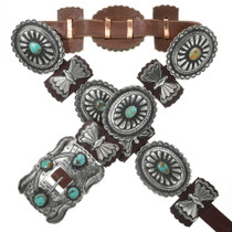 Turquoise Silver Concho Belt 13142