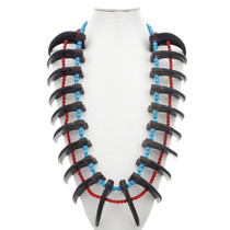 Grizzly Bear Claw Indian Chief Necklace Turquoise Coral 42 Inches Long
