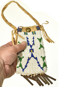 Seed Beaded Leather Native American Collectible 30363