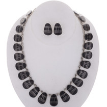 Inlaid Black Onyx Silver Necklace Set 27990