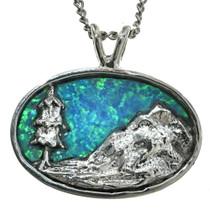 Blue Opal Inlaid Silver Landscape Pendant 29616