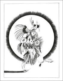 Fancy Powwow Dancer Navajo Art Print 21113