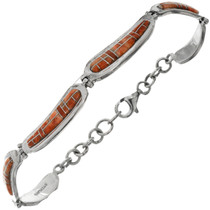 Spiny Oyster Inlaid Silver Bracelet 26356