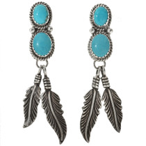 Turquoise Silver Feather Navajo Earrings 29484