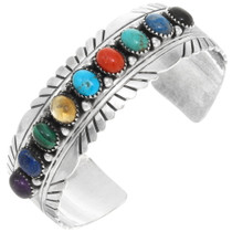 Colorful Multi Gemstone Sterling Silver Navajo Bracelet 28968
