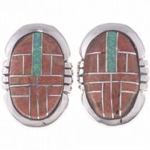 Opal coral Inlay Earrings 24649