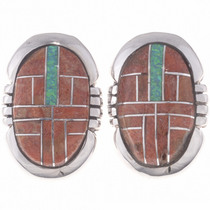 Opal coral Inlay Earrings 24649