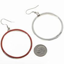 Zuni Style Coral Hoop Earrings 19483