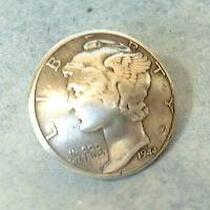 Silver Mercury Dime Buttons 32309