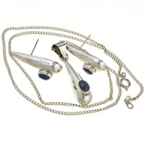 Silver Teardrop Pendant Earring Set 14566