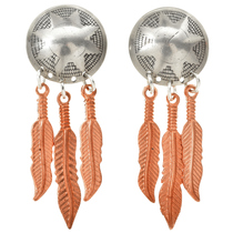 Navajo Wedding Basket Silver Copper Earrings 23861