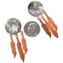 Native American Silver Copper Earrings 23861