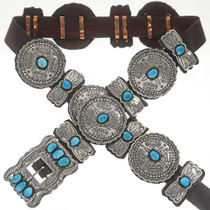Turquoise Silver Navajo Concho Belt 18742