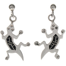 Inlaid Silver Lizard Southwest Earrings 10148