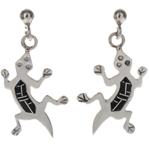 Inlaid Silver Lizard Southwest Earrings 10148