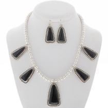 Black Onyx Southwest Silver Necklace Set 27846