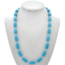 Turquoise Silver Bead Necklace 29708