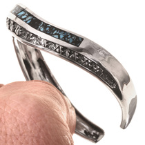 Inlaid Turquoise Silver Cuff Bracelet 28761