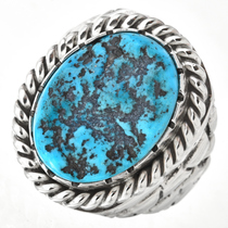 CLEARANCE CLOSEOUT MOTHERSDAYMADNESS Turquoise Stone Oval Scrollwork Design Sterling Silver Native American Handmade Ring  Western