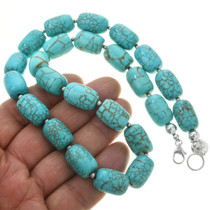 Turquoise Silver Beaded Necklace 23352