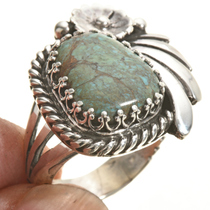 Green Turquoise Navajo Ring 27822
