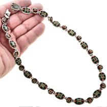 Jet Spiny Oyster Gaspeite Silver Necklace 12703