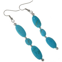 Natural Turquoise French Hook Earrings 28302