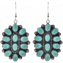 Turquoise Cluster Silver Earrings 28844
