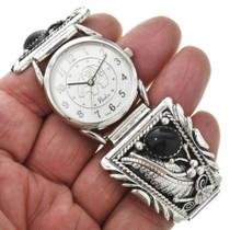 Navajo Black Onyx Silver Watch 18722