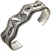 Silver Overlaid Cuff Wave Bracelet 28720