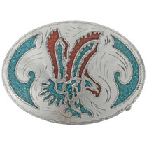 Inlaid Eagle Silver Belt Buckle 27444