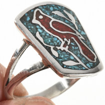 Cardinal Chip Inlay Southwest Ring 27079