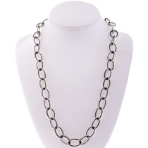 Onyx Inlaid Silver Link Necklace 27977
