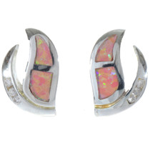 Inlaid Opal Sterling Post Earrings 17036