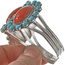 Navajo Turquoise Coral Cuff 23373