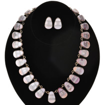 Inlaid Pink Shell Silver Necklace Set 29629