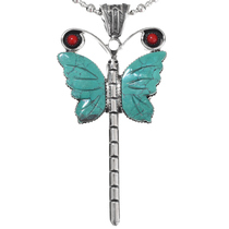 Navajo Turquoise Coral Butterfly Pendant 24011
