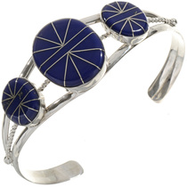 Inlaid Three Stone Lapis Bracelet 28243