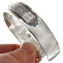 Navajo Western Overlaid Silver Bracelet 28242