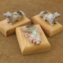 Wholesale Set of Three Stone Native American Animal Statuette Table Fetishes with Wood Bases