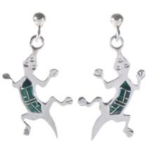 Inlaid Malachite Silver Lizard Earrings 14460