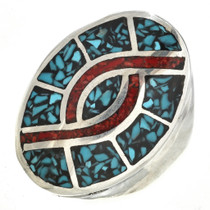 Navajo Turquoise Coral Mens Ring 27391