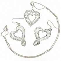 Filigree Heart Silver Pendant Set 22786