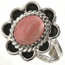 Pink Coral Silver Ladies Ring 28664