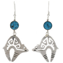 Blue Turquoise Navajo Earrings 27694