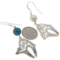Silver Bear Turquoise Navajo Earrings 27694
