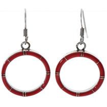Inlaid Silver Red Coral Hoop Earrings 19663
