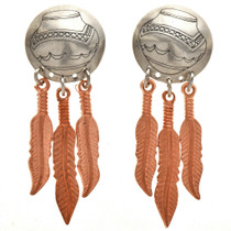 Navajo Copper Feather Silver Earrings 23858