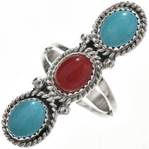 Turquoise Coral Navajo Pointer Ring 29109