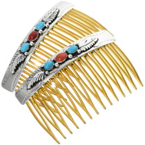 Turquoise Coral Silver Hair Combs 19651